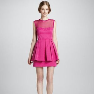 Nanette Lepore Bright Pink Peplum Party Dress